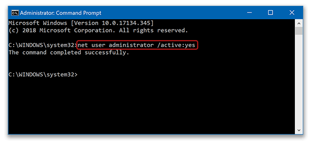 Enabling Windows hidden administrator account in command prompt