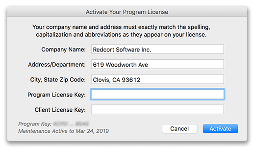 Activate a license in a client
