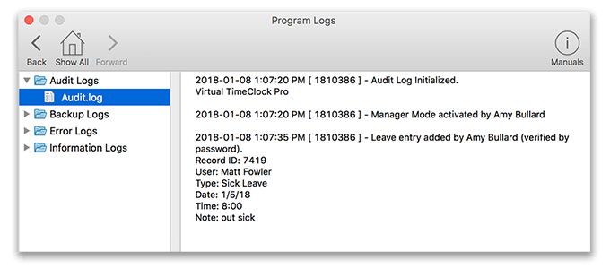 Virtual TimeClock Audit Logs