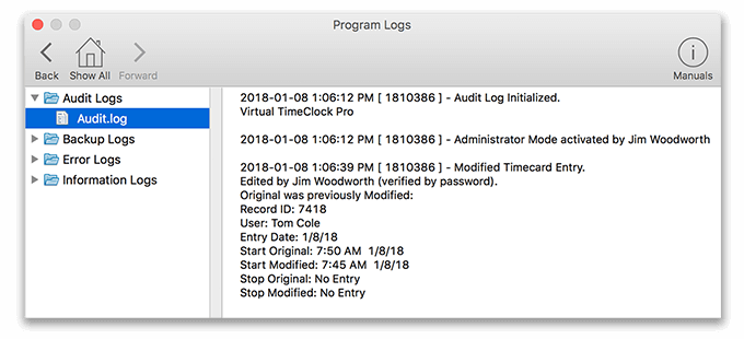 Virtual TimeClock Audit Entry Logs
