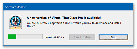 Software update window in Virtual Time Clock