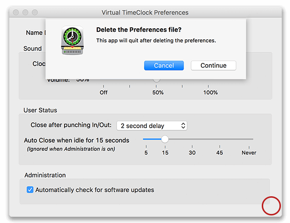 Removing preferences in the Preferences window of Virtual TimeClock