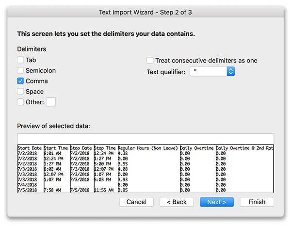 Microsoft Excel import window for selecting comma delimited data import