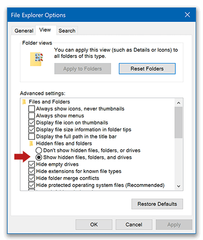 Show hidden files and folders in Windows OS