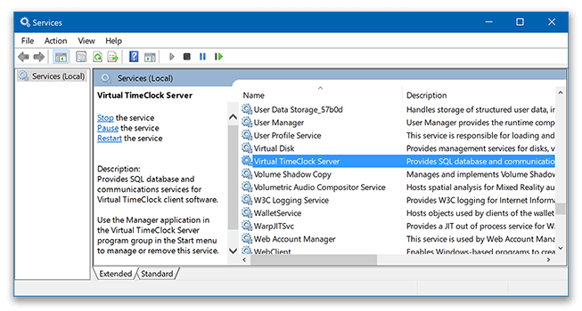 Selecting TimeClock Server service in Windows services window