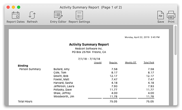 Activity summary report with worker summary enabled