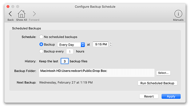 Pro Edition automatic backup schedule window