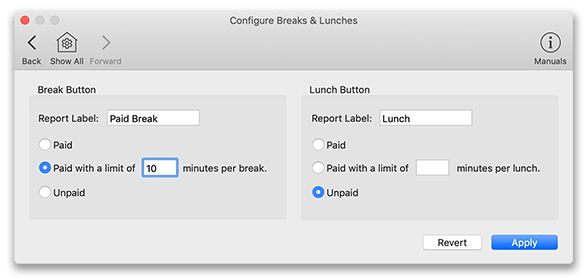 Virtual TimeClock Configure Breaks and Lunches window