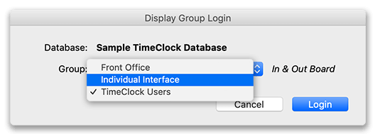 Display group login screen for changing groups in virtual time clock