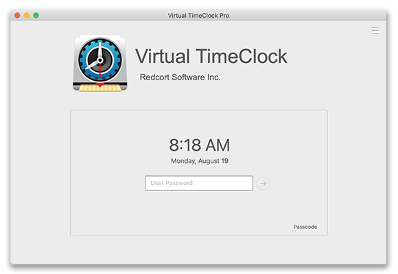 Virtual TimeClock Passcode Interface