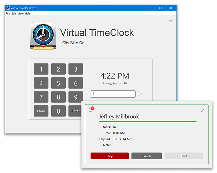 Virtual TimeClock PIN Interface
