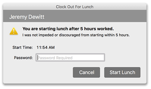 Virtual TimeClock Courtesy Lunch message