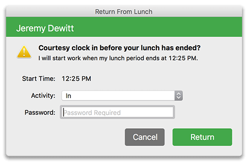 Virtual TimeClock Courtesy Early Lunch Return