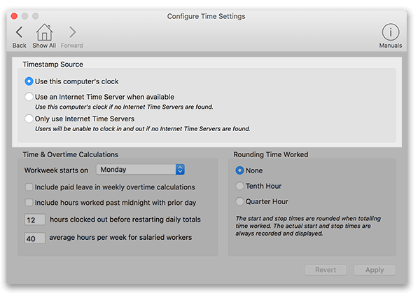 Virtual TimeClock Time Settings