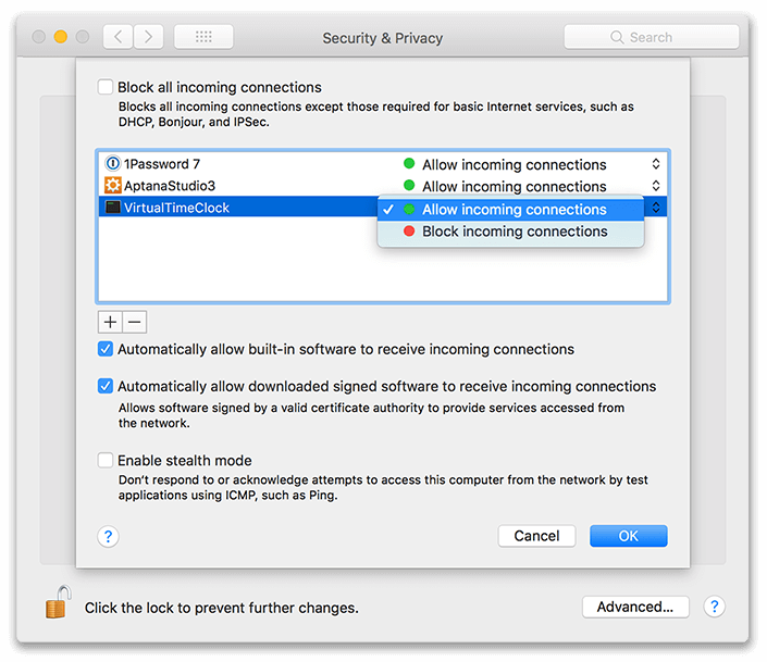 macOS Firewall Settings