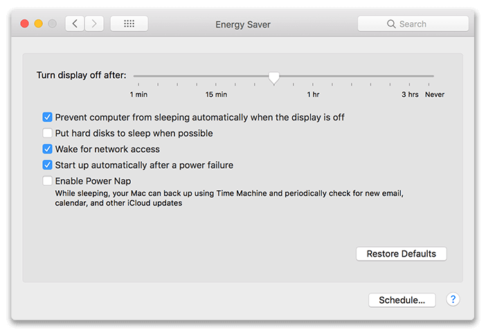 macOS Energy Saver Settings
