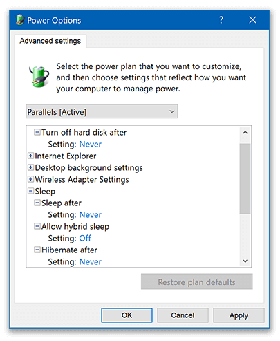 Windows Power Options