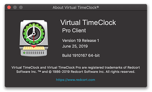 Virtual TimeClock Client about window in macOS Dark Mode