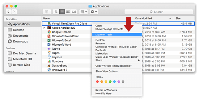 Uninstalling TimeClock Clients in macOS