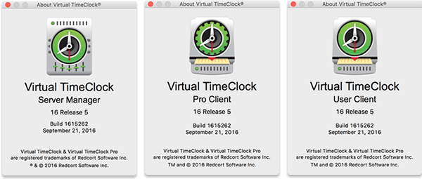 Virtual TimeClock Network About Window