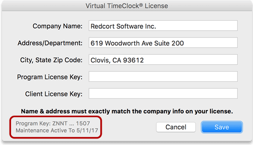 Virtual TimeClock License Window