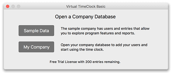 Opening a database in Virtual TimeClock