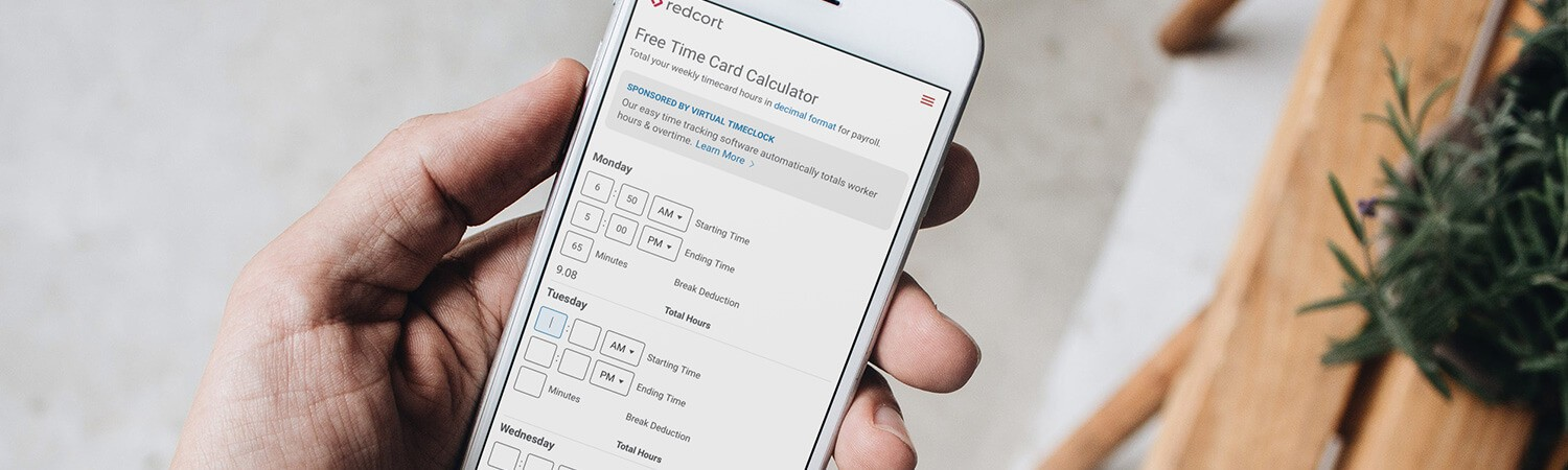 iPhone user with Redcort timecard calculator