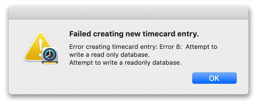 Failed to create new timecard entry