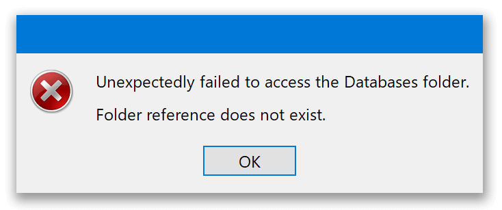 Unexpectedly failed to access the Databases folder message