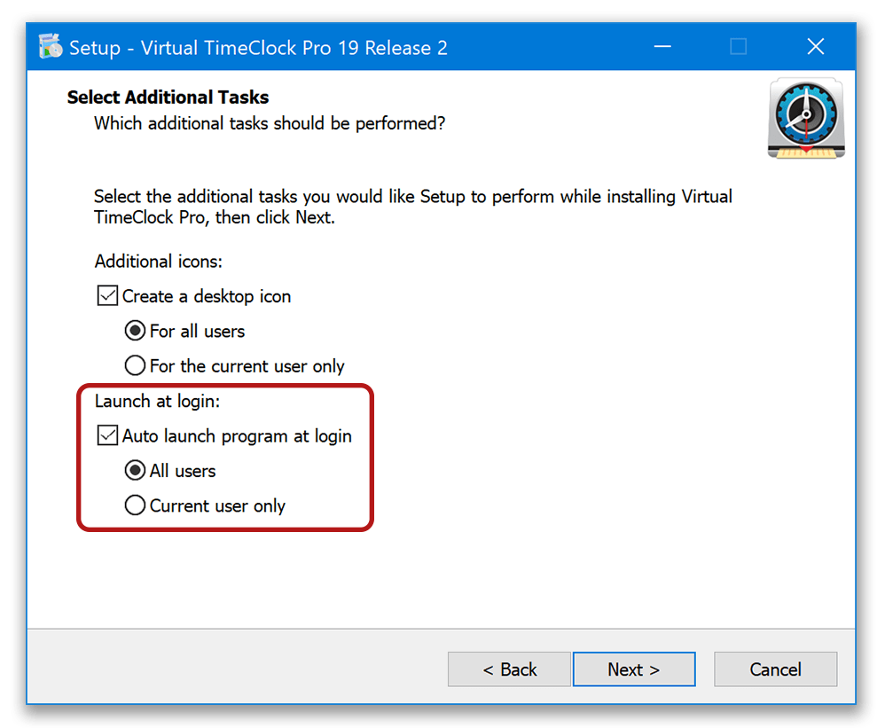 Selecting auto launch option during installation