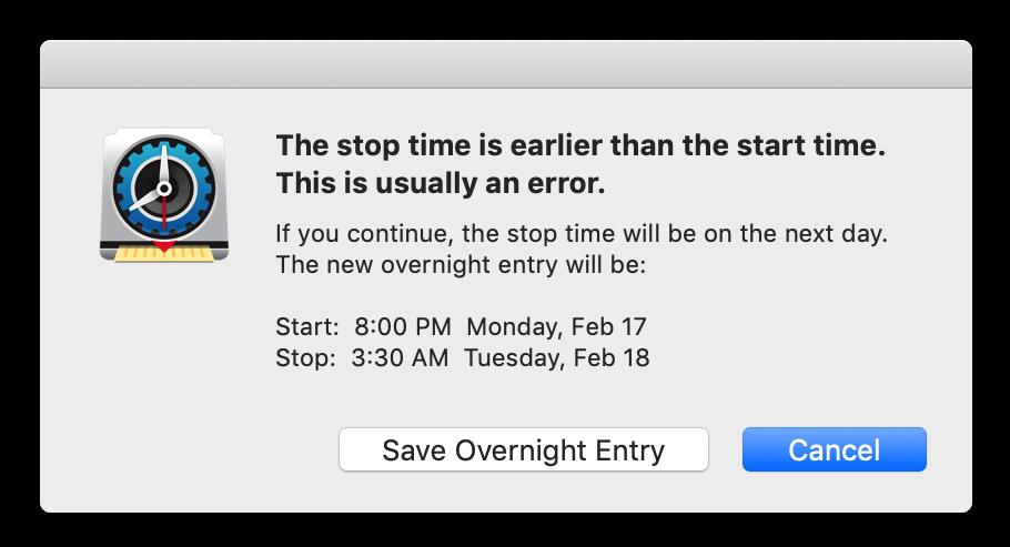 New overnight entry option