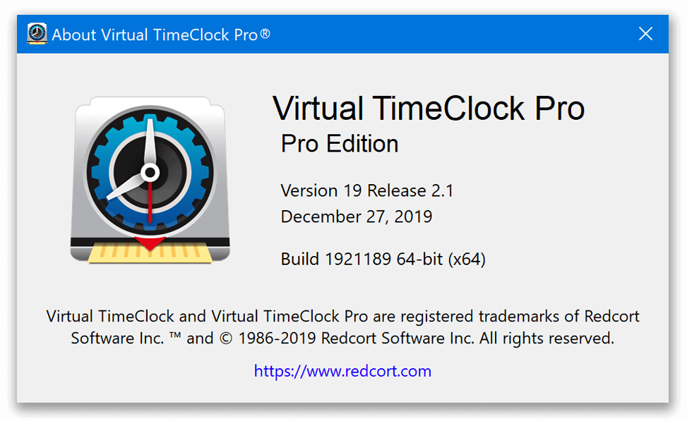 Virtual TimeClock About window for 19.2.1