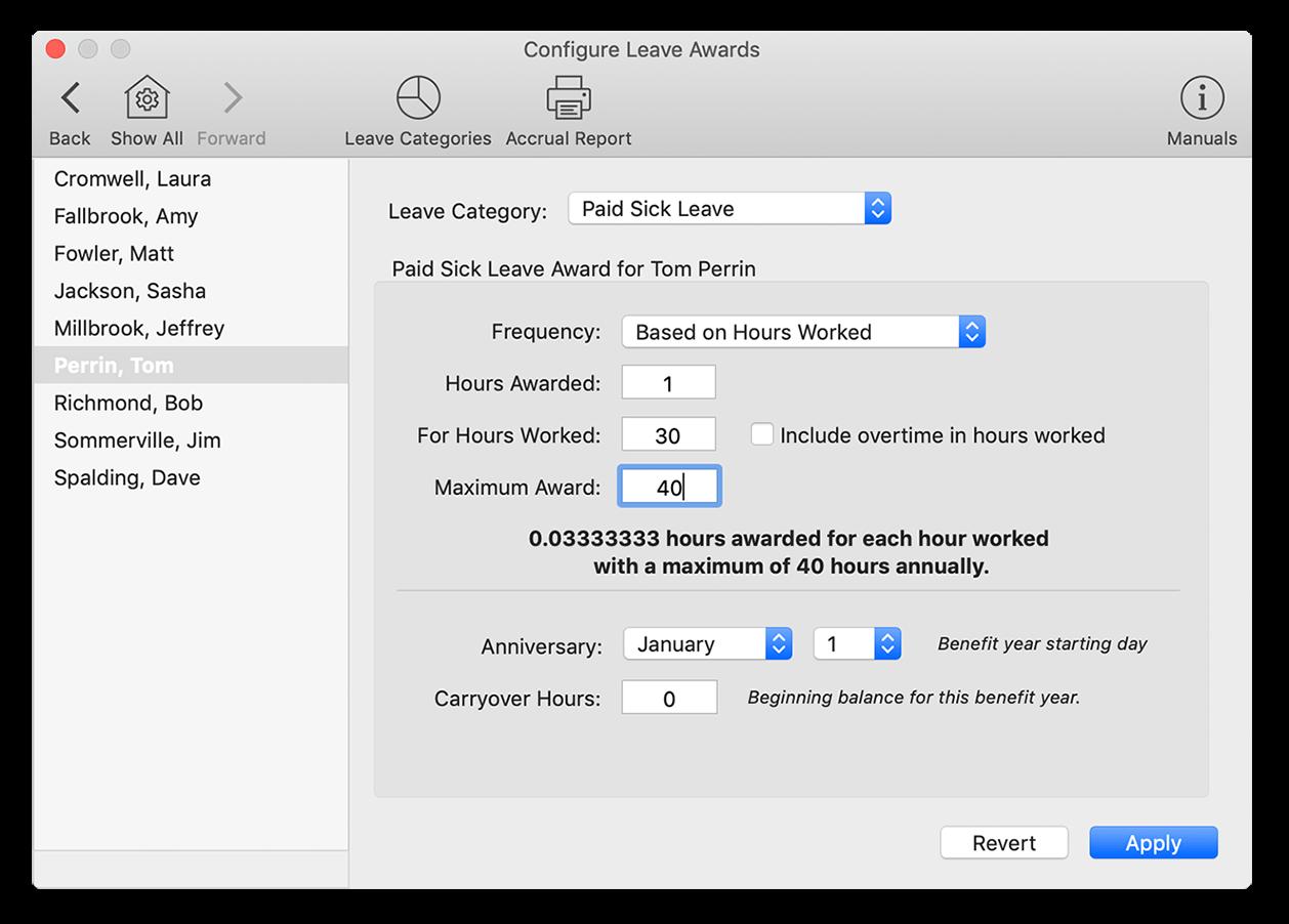 Adding a sick leave award in Virtual TimeClock software
