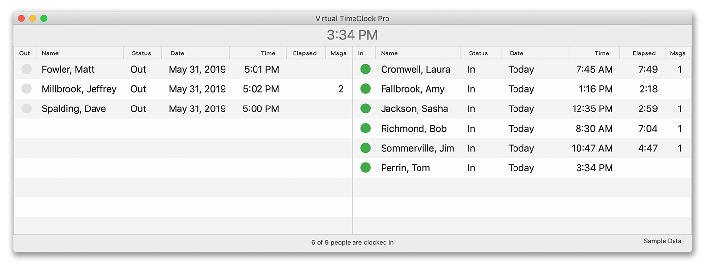 Two list view in user mode of Virtual Time Clock