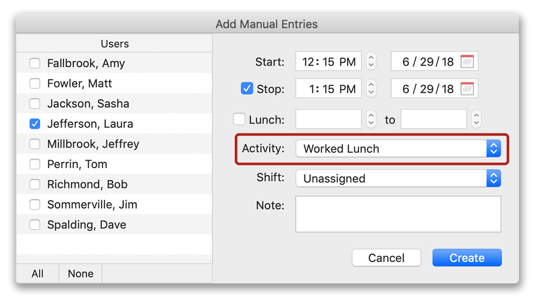 Adding worked lunch to timecard